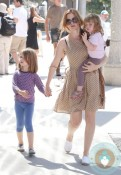 Isla Fisher with daughters Elula and Olive at the petting zoo