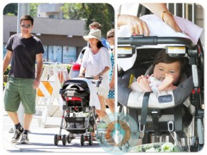 Jason Bateman, Amanda Anka and Maple Sylvie Bateman at the Farmer's Market