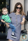 Kelly Preston with Benjamin in Paris