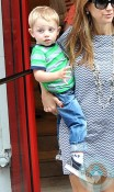Kelly Preston with her son Benjamin in Paris