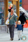 Liev Schreiber out in NYC with his sons, Alexander Pete & Samuel Kai