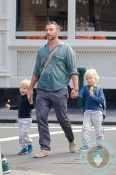 Liev Schreiber out in NYC with his sons, Alexander Pete and Samuel Kai