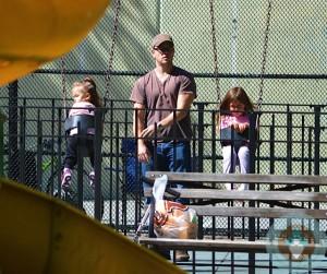 Matt Damon with his girls at the park