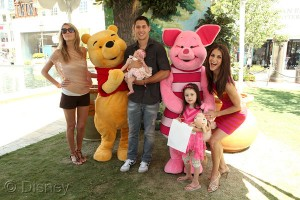 Samanthat Harris (far right) with daughter Josselyn and actor Talon Smith with wife and daughter at the Disney Baby Store Opening