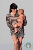 Selma Blair cuddles her son Arthur at the beach