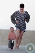 Selma Blair plays with her son Arthur at the beach