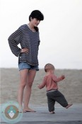 Selma Blair with her son Arthur at the beach in California