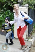 Comedian Amy Poehler takes son Archibald Arnett to a costume birthday party in Los Angeles