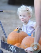 Rebecca Gayheart takes her daughters to the pumpkin patch in beverly hills