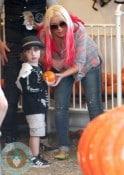 Christina Aguilera with son Max Bratman @ the pumpkin patch 2012