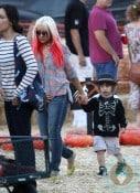 Christina Aguilera with son Max Bratman at Mr. Bones pumpkin patch 2012