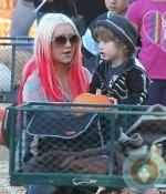 Christina Aguilera with son Max Bratman at the pumpkin patch 2012