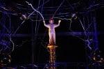 David Blaine during his 'Electrified' performans at Pier 94 Manhattan