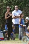 Heidi Klum, Leni Samuel, Martin Kristen at Henry's soccer game