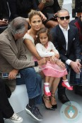 Jennifer Lopez, Emme Anthony, Casper Smart at the Chanel Spring-Summer 2013 show in Paris