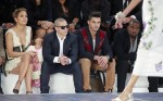 Jennifer Lopez, Emme Anthony, Casper Smart at the Chanel Spring:Summer 2013 show