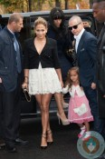 Jennifer Lopez, Emme Anthony and Casper Smart at the Chanel Spring-Summer 2013 show Paris