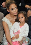 Jennifer Lopez and Emme Anthony at the Chanel Spring-Summer 2013 show Paris