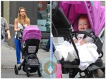 Jessica Alba with baby Haven in NYC (pushing the Orbit Helix)