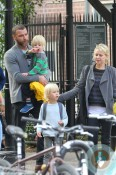 Liev Schreiber and Naomi Watts with Samuel in NYC