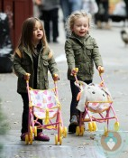 Marion and Tabitha Broderick push their strollers in NYC