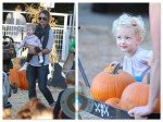 Rebecca Gayheart with daughters Billie and Georgia at the pumpkin patch