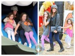 Soleil Moon Frye with daughters Jagger and Poet, Pumpkin Patch 2012