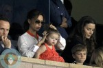 Victoria Beckham and baby daughter Harper watch hubby David Beckham play for the LA Galaxy against the Seattle Sounders in Los Angeles