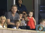 Gordon Ramsay, Victoria Beckham and baby daughter Harper watch hubby David Beckham play for the LA Galaxy against the Seattle Sounders in Los Angeles