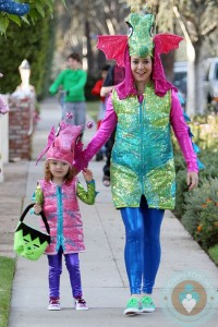 Alyson Hannigan and Alexis Denisof join in the Halloween fun, as they dress up as seahorses with their daughters Satyana and Keeva, in Los Angeles