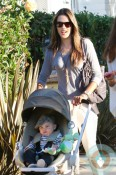 Stunning supermodel Alessandra Ambrosio seen with baby Noah and daughter Anja while enjoying a day with friends while near her home in Santa Monica