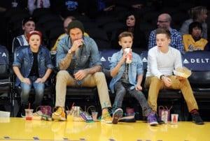 David Beckham and his boys watch LA Lakers , Los Angeles, CA