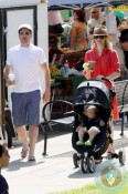 Elizabeth Banks spends the day shopping at the Farmer's Market with her husband Max and baby son Felix