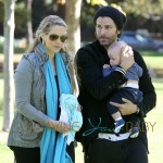 Elizabeth Berkley and husband Greg Lauren take their son Sky Cole Lauren to Coldwater Canyon Park