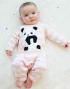 Giant Panda cotton babysuit in Pink:creme