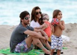 Kourtney Kardashian and Scott Disick with Mason and Penelope on the beach in Miami