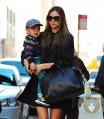 Fashionable mom Miranda Kerr takes her baby boy Flynn to work