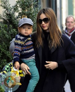 Stylish Miranda Kerr with Son Flynn Bloom Braves the Cold in a Minidress