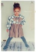 My Petite Dot Girls Dress with Peter Pan Collar and Bow from Fleur + Dot
