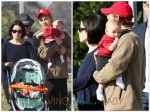 Neve Campbell and partner J.J. Feild out with their son Caspian
