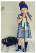 The Blue Grid Bow Shift with Peter Pan Collar Girls Dress from the Fleur + Dot