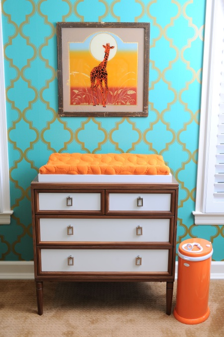 giraffe themed vintage nursery--changing table from an old dresser