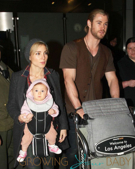 Chris Hemsworth And His Family Arriving On A Flight At LAX