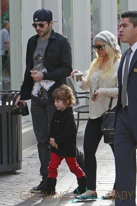 Christina Aguilera and son Max Bratman at the Grove
