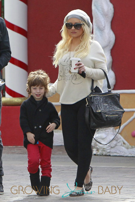 Christina Aguilera and son Max Bratman at the Grove