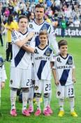David Beckham & his sons Cruz, Romeo and Brooklyn at the LA Galaxy MLS Cup
