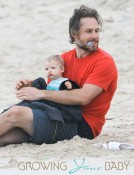 Doting Dad Eric Johnson on Baby Watch With Son Maxwell on The Simpsons' Family Holiday Beach Vacation