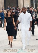 Kim Kardashian and Kanye West seen arriving to the Valentino Haute-Couture Show as part of Paris Fashion Week held at the Hotel Salomon de Rothschild in Paris