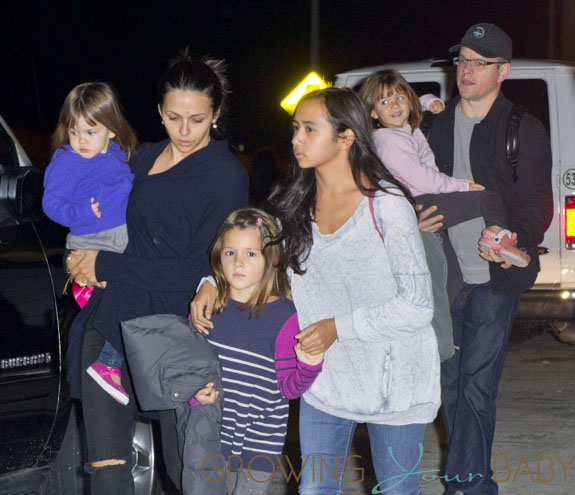 Matt Damon with his family arrive at JFK airport in NYC