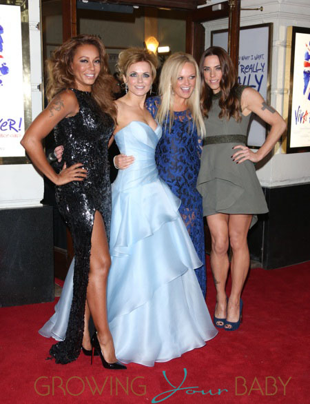 Melanie Brown aka Mel B, Geri Halliwell, Emma Bunton, Melanie Chisholm aka Mel C VIVA Forever Spice Girls the Musical held at the Piccadilly Theatre